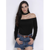 Casual Sexy Off Shoulder Halter Solid Color Stretch Women T-Shirt
