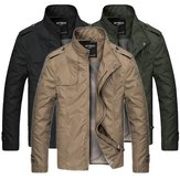 Mens Cool Water Repellent Stand Collar Jacket Solid Color Veste Business Mens Slim Fit Outwear