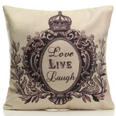 Black Royal Letters Cotton Linen Throw Pillow Case Sofa Office Cushion Cover Home Decor