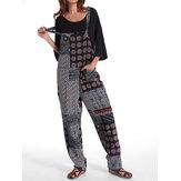 Gracila Polka Dot Printed Loose Patchwork Pocket Jumpsuit