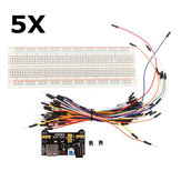 5Pcs Geekcreit® MB-102 MB102 Solderless Breadboard + Power Supply + Jumper Cable Kits For Arduino