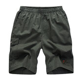 Summer Mens Cargo Shorts Casual Multi Pocket Shorts 100% Cotton Pure Color Cargo Shorts