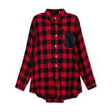 Women Casual Long Sleeve Plaid Pattern Pocket Lapel Loose Blouse