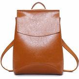 Women Multifunctional PU Leather Simple Big Capacity Simple Backpack Shoulders Bag