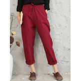 Original Casual Solid Color Elastic Waist Harem Pants