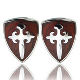 Men Vintage Wood Sword Shield Pattern Silver Cuff Links Wedding Party Gift Shirt Accessories