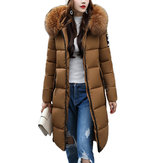 Original Casual Women Slim Fit Solid Hooded Zipper Thicken Parka Long Down Jacket