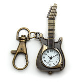 Vintage Guitar Shape Alloy Chain Pocket Watch