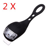 2PCS Black Bicycle Bike  Light Waterproof Silicone LED Flashlight