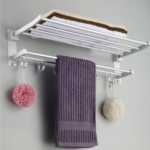 Alumimum Folded Silver Bath Towel Shelf