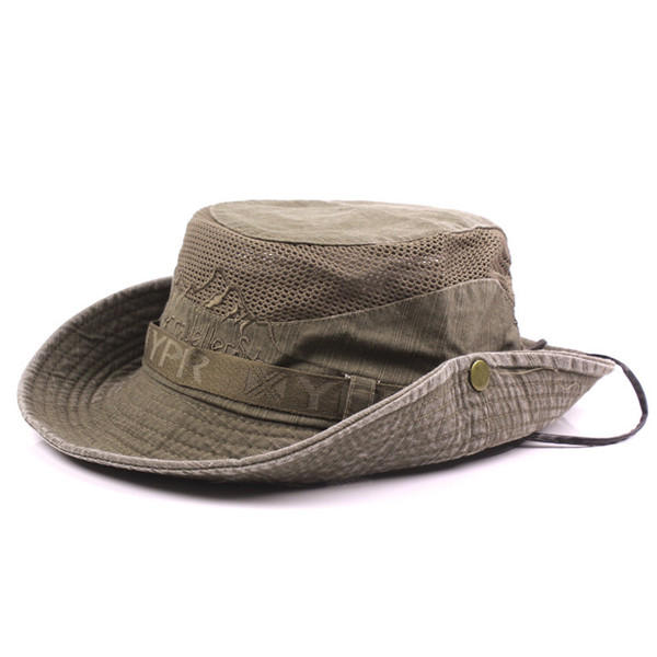 Mens Cotton Embroidery Bucket Hats Fisherman