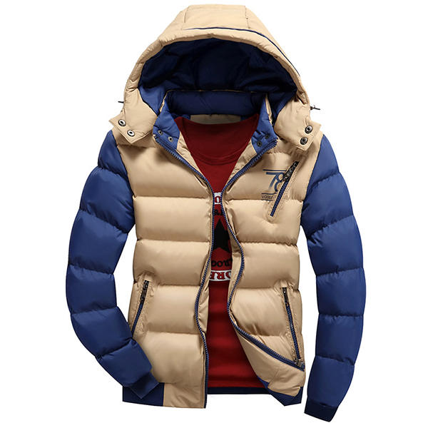 Mens Down Cotton Hooded Patchwork Warm Slim Fashion Casual Padded Jacket