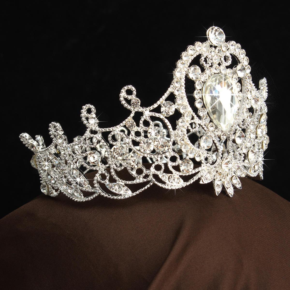 Bride Diamond Crystal Rhinestone Crown Vintage
