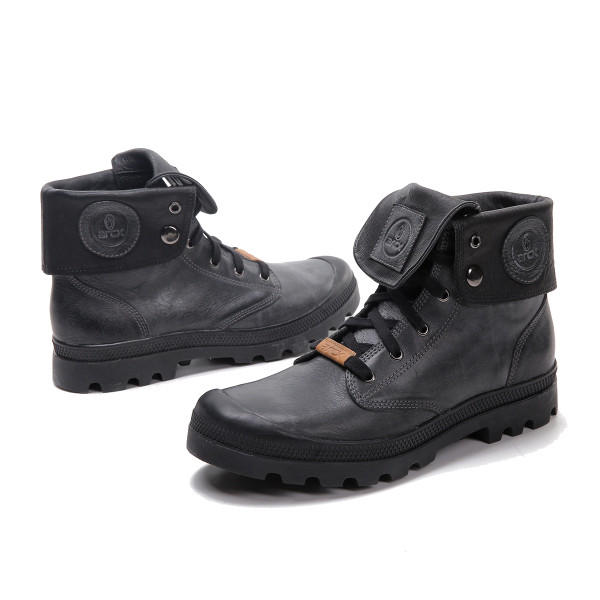 Black Casual Leather Boots Short Boots