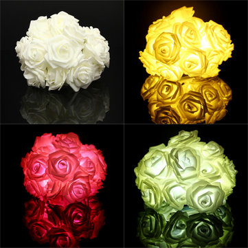 2.2M 20 LED Rose Flower Lights Lamp Garden Party Decorative Lights for Festival Christmas Wedding