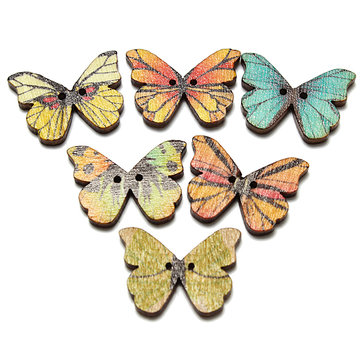 50Pcs Mixed Color Butterfly Wooden Buttons