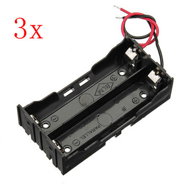 3pcs DIY DC 7.4V 2 Slot Double Series 18650 Battery Holder Battery Box With 2 Leads ROHS Certification