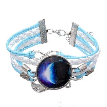 ใบเป็นสีน้ำเงิน Infinity กาแล็กซี่ไทม์สร้อยข้อมือหนังหลากสี