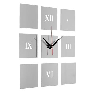 Chiffres romains bricolage mur carré décor horloge miroir acrylique de bureau à domicile autocollants