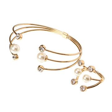 24K or platine plaqué unique bijoux de cercle triple bijoux artificiels bijoux pour les femmes