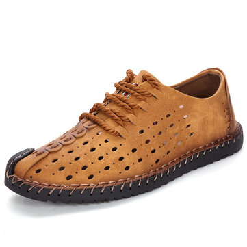 Mannen Britse Stijl Hand Stitching Hollow Out Kant om Casual Flats