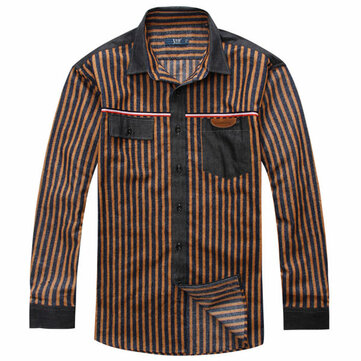 Big Size XL-6XL Striped Spring Autumn Long-sleeved Men Loose Cotton Shirt