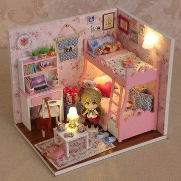 Cuteroom bricolaje estado de ánimo casa de muñecas de madera de amor modelo de adornos hechos a mano con la muñeca