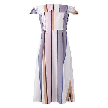섹시한 여자 원 숄더 polychrome 스트라이프 프릴 드레스