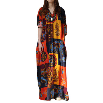 Ethnic Women Random Pattern Printing V-Neck Long Dresses