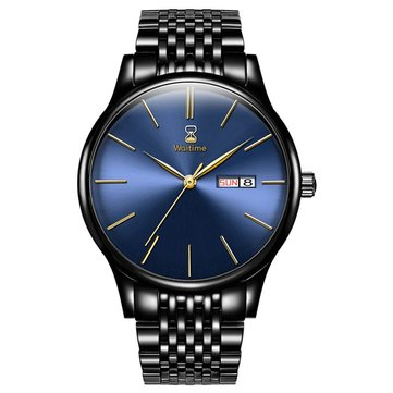 WAITIME™ 8017 Ultra Thin Men Watch Business Style Stainless Steel Strap Quartz Watches