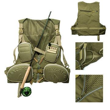 Maxcatch chaleco de la pesca con mosca ajustable de múltiples bolsillo del chaleco chaqueta de la pesca multifunción
