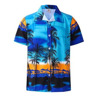 Camicia da Uomo Larga Traspirante Ascuigato Rapido a Maniche Corte con Albero di Coccoper Spiaggia Vacanze Lounge Abito Maschile da Giorno