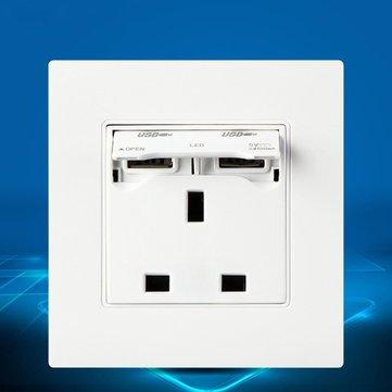Excellway®KI02 250V 13AユニバーサルプラグデュアルUSBポートウォールチャージャーアダプタソケット