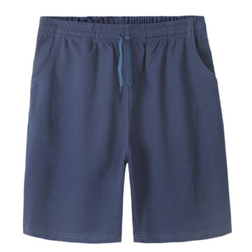 Plus Size Mens Cotton Shorts Elastic Waist Solid Color Loose ...