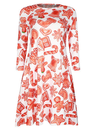 Vintage Christmas Gift Printing Women A-lijn Party Dress
