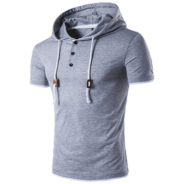 Summer Mens Casual Hooded Rope T-shirt Pure Color korte mouw Sweater T-shirt
