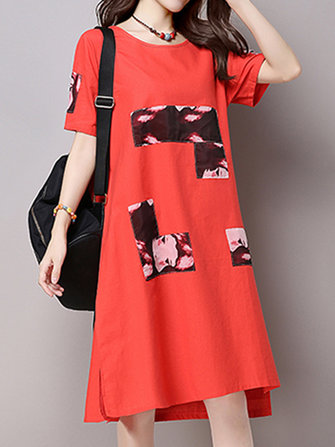 Women Vintage Short Sleeve Round Neck Dresses Printed Patchwork Mid Dresses