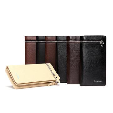 CUREWE KERIEN Brand Men's PU Leather Long Zipper Purse Business Wallet Handbag