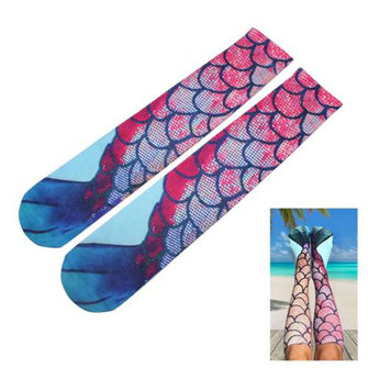 Buy Women Ladies Stockings Mermaid Knee High Tail Fish Socks Beach Fish Scale Cosplay for $10.66 in Banggood store