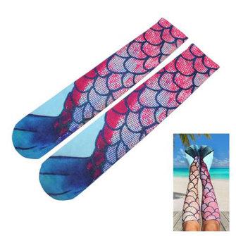 Calze delle signore delle donne ginocchio sirena cosplay calze di pesce coda alta spiaggia scala di pesci
