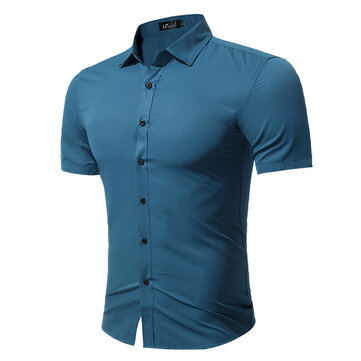Plus size fashion casual solid color simple style short for Solid color short sleeve dress shirts