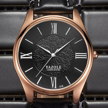 YAZOLE 376 Fashion Men Quartz Watch Luxury Laser Pattern Business Wrist Watch