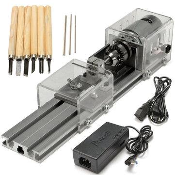 Raitool® LB-01 Mini Torna Tezgahları Ağaç İşleme DIY Torna Cilalama Matkap Döner Parçalar DC 24V
