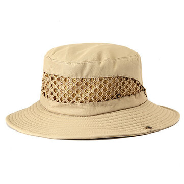 Unisex Mountaineering Fishing Mesh Cap Bucket Hat Folding Outdooors Sun Hat