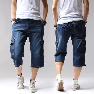 Mens Summer Denim Multi-pocket Plus Size Capri Pants Straight Legs Casual Shorts Jeans