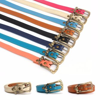 Women Ladies Faux Leather Thin Skinny Waist Belt Metal Carving Buckle Waistband