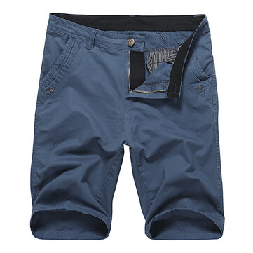 На открытом воздухе Мода Чистый цвет Пятый Брюки Мужские повседневные прямые ноги Комфорт хлопок шорты