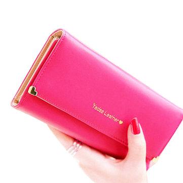 Women Clutch Matte Leather Wallet Lady Card Holder Purse Handbag