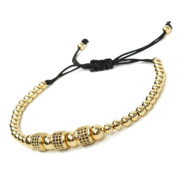 Beads Beaded Macrame Gold Plated Men Bracelet Jewelry Gift Clothing Accessories