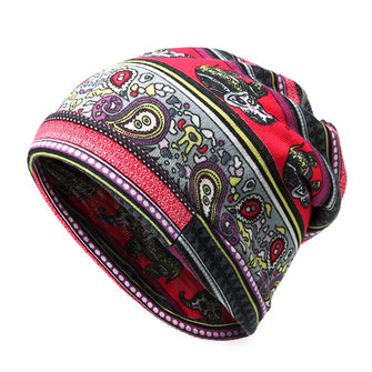 Women Cashew Flowers Printing Beanie Hats Casual Warm Multi-function Collar Scarf